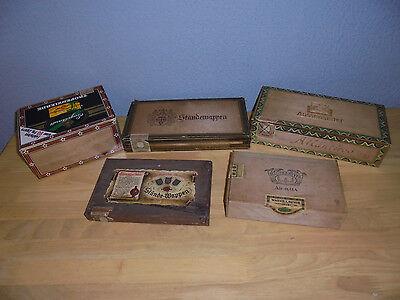 5 alte Zigarren Schachtel Zigarrenkiste Zigarrenbox  - Holz Antik  leer RAR !