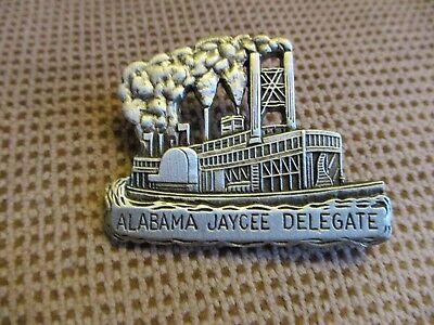 Vintage Alabama Jaycees Fine Pewter Riverboat Lapel Pin--Hat Pin 1981
