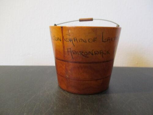 Vinatge Souvenir Wooden Bucket Fulton Chain Lakes Adirondack Mountains New York