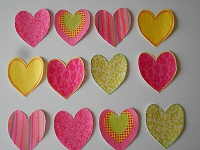 12 Pink Heart Iron-On Fusible Applique Quilt Baby Bib Photo Prop Shower T-shirt