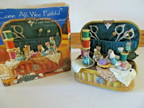 Enesco Come All Wee Faithful Animated Musical Sewing Basket with Mice
