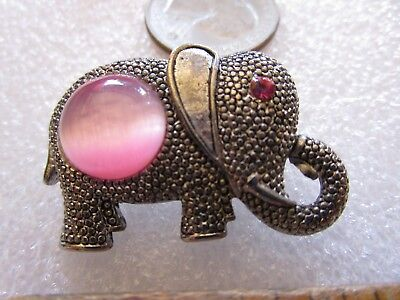 Signed KC Costume Jewelry Lucky Elephant Pink Cats Eye Belly Stone Brooch Pin - Kc Costume