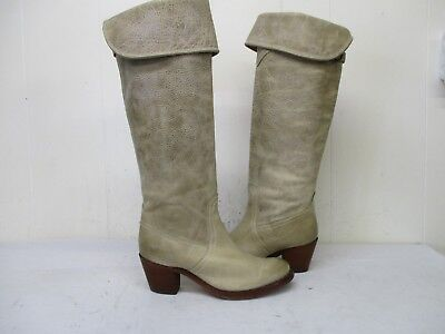 Frye Jane Tall Cuff Stone Leather Distressed Over the Knee Boots Womens Size 6 B Jane Tall Cuff