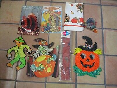 Vintage Thanksgiving Decorations (Lot of Vintage Halloween & Thanksgiving Decorations 1960s-70s)