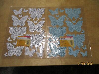 2 Bögen 3D Sticker Deluxe NEU!!! Schmetterlinge Silber und Hellblau