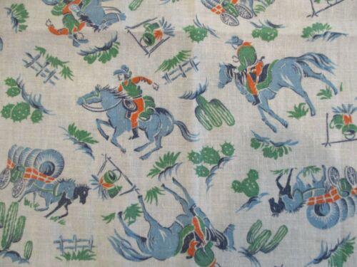 Vintage Cotton Feedsack Fabric Cotton Novelty Piece Western Cowboy Print Quilts