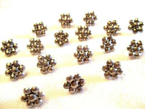 18 TEENY TINY Antique DOLL DRESS Cut Steel CLOTHING BUTTONS - RARE SET!