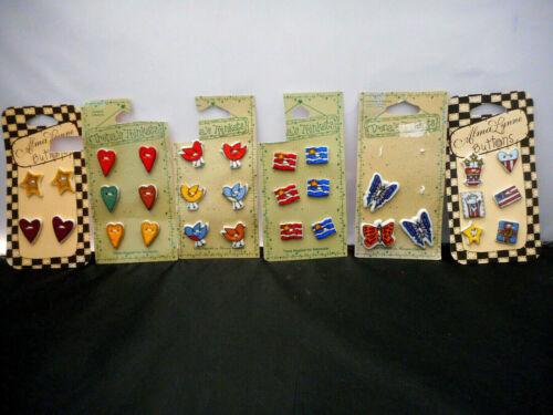 6 Original Cards Trinkets & Alma Lynne Ceramic Buttons Flag Butterfly Bird Heart