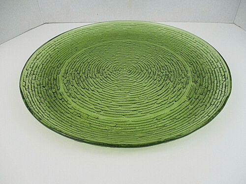 "Vtg Anchor Hocking Avocado Soreno Green Textured Glass 14"" Platter Tray Plate"