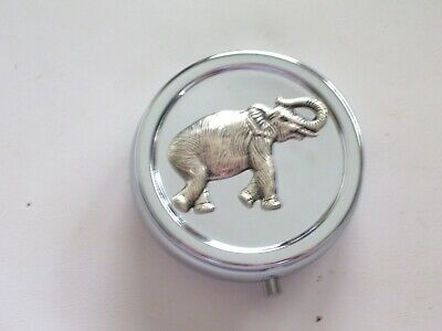 Silver Elephant Pill Box, Elephant Pill Case, Elephant Pill