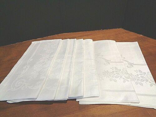 "Antique Irish Linen Damask Set of 12 Napkins 22"" square  RARE"