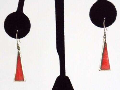 TJ-17 Taxco Mexico Pink Swirled Enamel Inlay Sterling Silver Drop Earrings 925