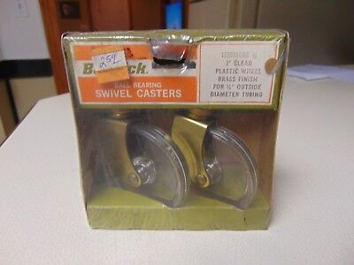 Pair Of Mid Century Bassick Swivel Casters - 3 Clear Plastic Brass Finish Nos