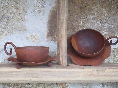Edelrost Tasse 1 Stück Schale bepflanzen Hauswurz Terrasse Garten Tischdeko