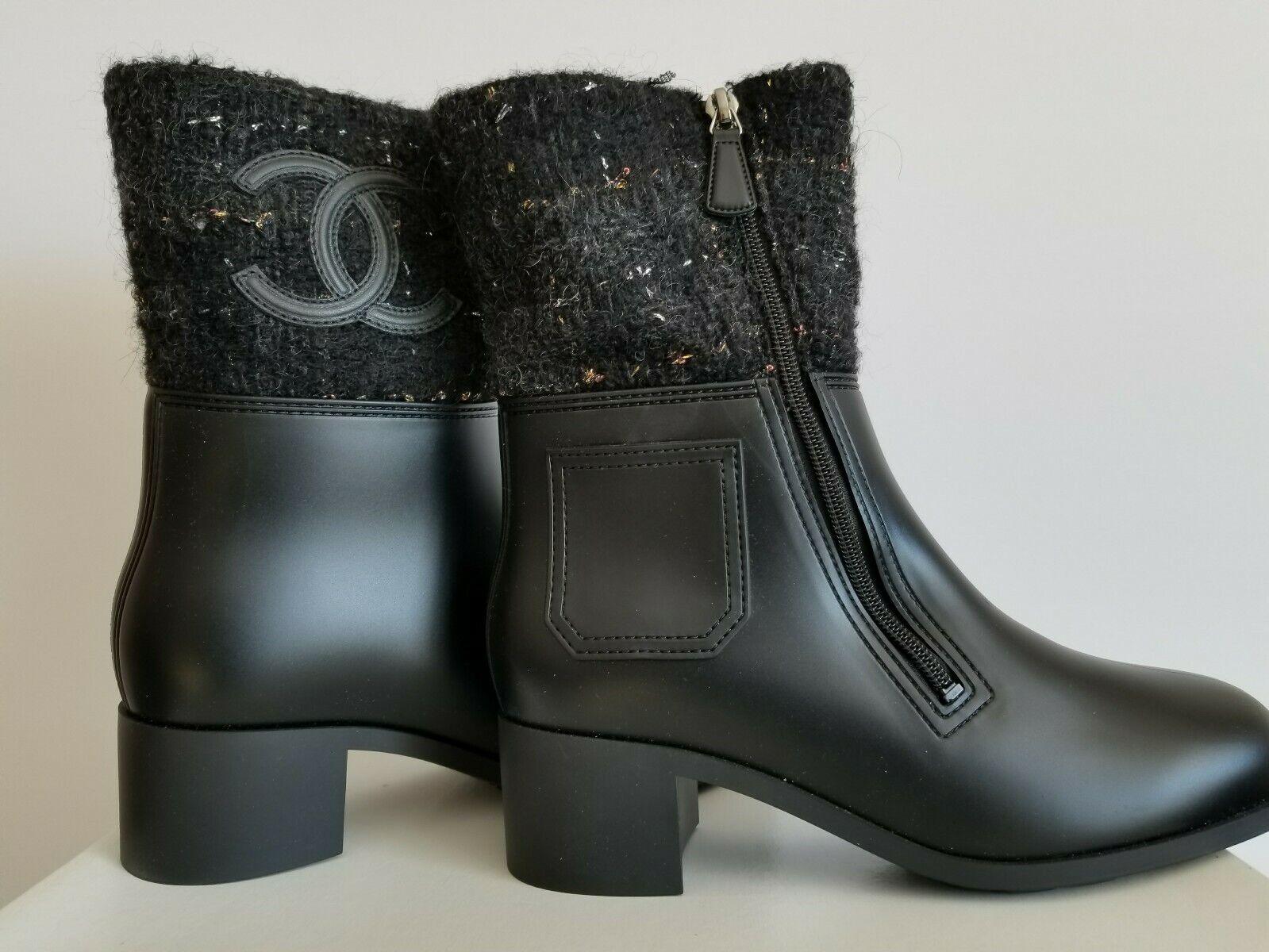 CHANEL RAIN RUN CC LOGO PVC TWEED POCKET ZIPPER BOOTS EU 40 I LOVE SHOES OMG