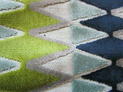 "Villa Nova Lerwick Lime Aqua Navy geometric cut velvet  27"" x 53"" with tail"
