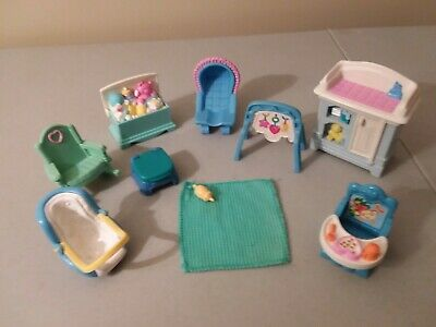 Fisher Price Loving Family Nursery Baby Furniture chair table toy chest Lot