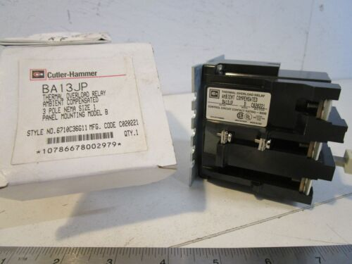 Cutler Hammer BA13JP Thermal Overload Relay, Ambient Compensated, 3 pole, Manual
