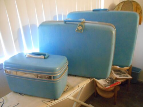 VTG 3 Pc Samsonite Silouette Luggage Set Teal Blue (Pre-Owned)