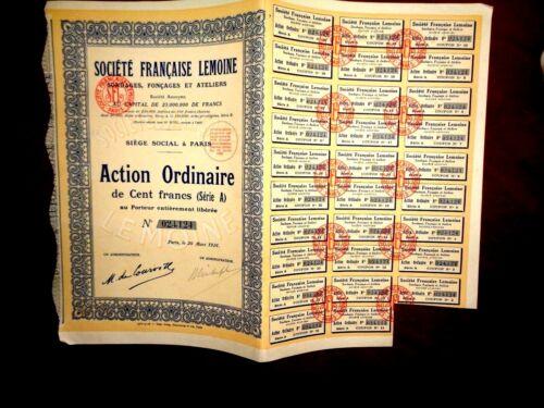 Société Française Lemoine,Share Certif.France 1926 (Oil drilling)