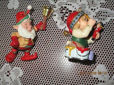 Hallmark Collectors Club Ornaments: 1999 Arctic Artist & 2000 Bell-Bearing Elf  2000 Collectors Club