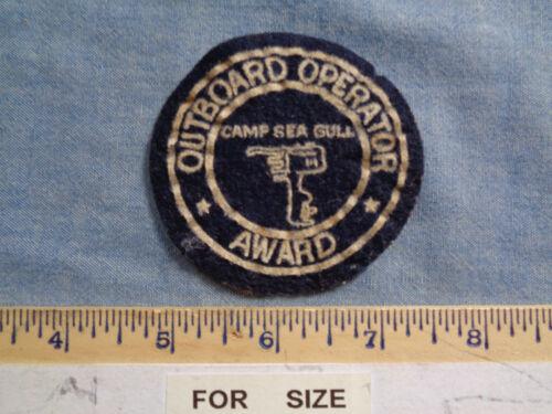 VINTAGE OUTBOARD OPERATOR AWARD -- CAMP SEA GULL -- FELT PATCH -- N.C.
