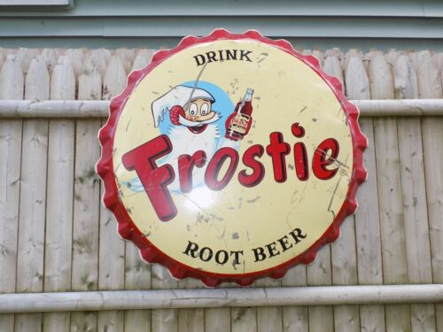 Vintage Frostie Bottle Cap 3 Foot Metal Sign