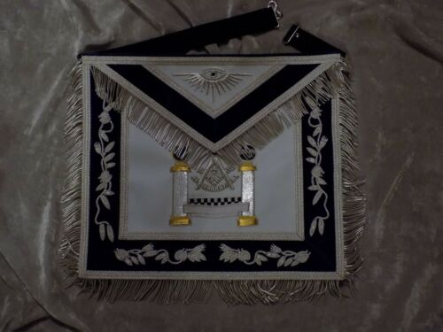 Past Master Masonic Apron Silver & Gold Bullion w/Square Pillar Satin Pocket NEW