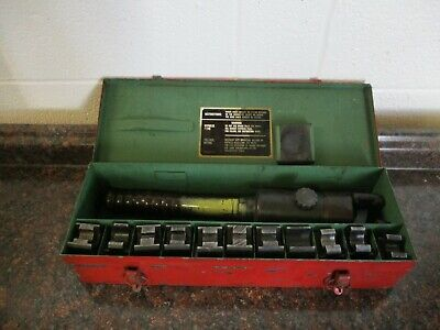 Burndy Y39 Hypress Remote Hydraulic Crimping Tool With Case 11 Dies Used