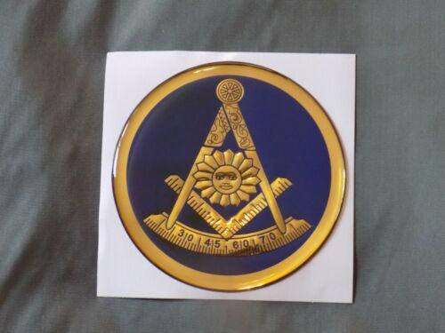 "Masonic 3"" Gel Car Emblem Past Master Mason with Square Blue Fraternity NEW!"