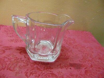 """Vintage Clear Glass 3 3/4"""" Pitcher Creamer w/ Starburst Bottom Heavy"""
