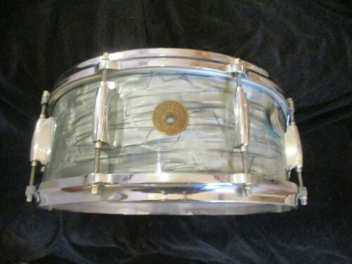 Vintage Gretsch Round Badge Snare Drum, Blue Pearl, Early 60s/late 50s Drum!