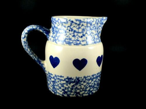 "The Workshop Of Gerald E. Henn Pottery Blue Spongeware Hearts Pitcher 5.5"" Tall"
