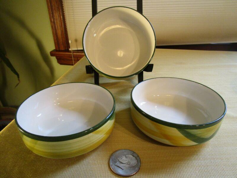 3 VERNONWARE Gingham CEREAL DESSERT SALAD SOUP COUPE BOWLS BY VERNON KILNS RARE
