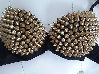 Black And Gold Spiked Bra 34](Black Spiked Bra)