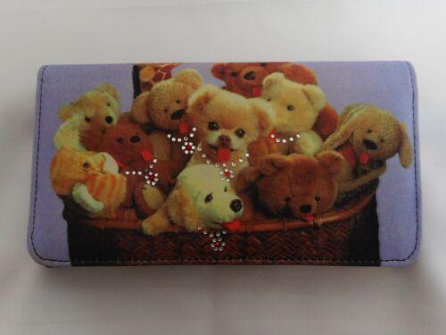 NEW Teddy Bear Puppy Embellished Checkbook Wallet