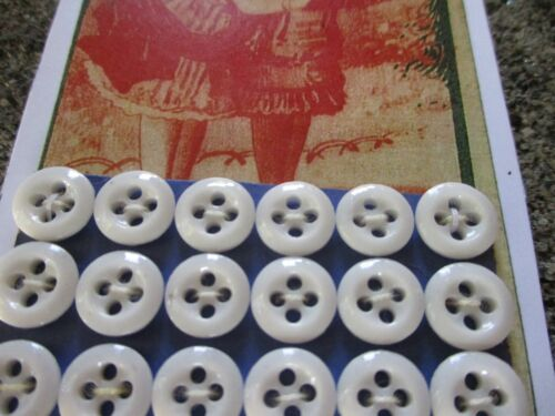 """Set of 18 Vintage 3/8"""" 4 hole White underwear Glass  Buttons~new/old stock"""