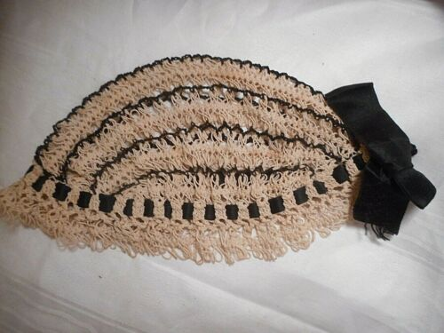 Antique Vintage 1920s Flapper Hat Hand Crochet knotted Gatsby Black Ribbon
