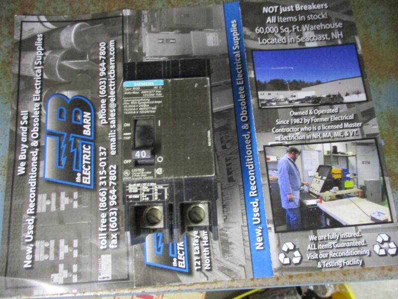 Siemens BQD240, 2 POLE 40 AMP 480 VOLT Circuit Breaker- WARRANTY