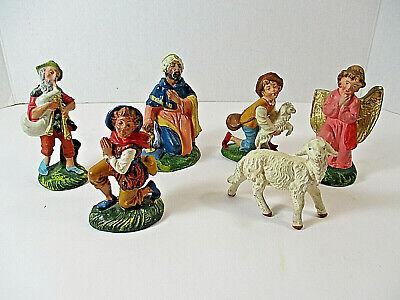 Lot (5) ITALY NATIVITY Figures Sheep King Shepherds Boys Kneeling Plastic Plus 1
