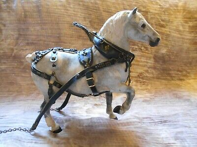 RARE Vintage Flocked Belgian Grey w/ white & Black points w/ Harness
