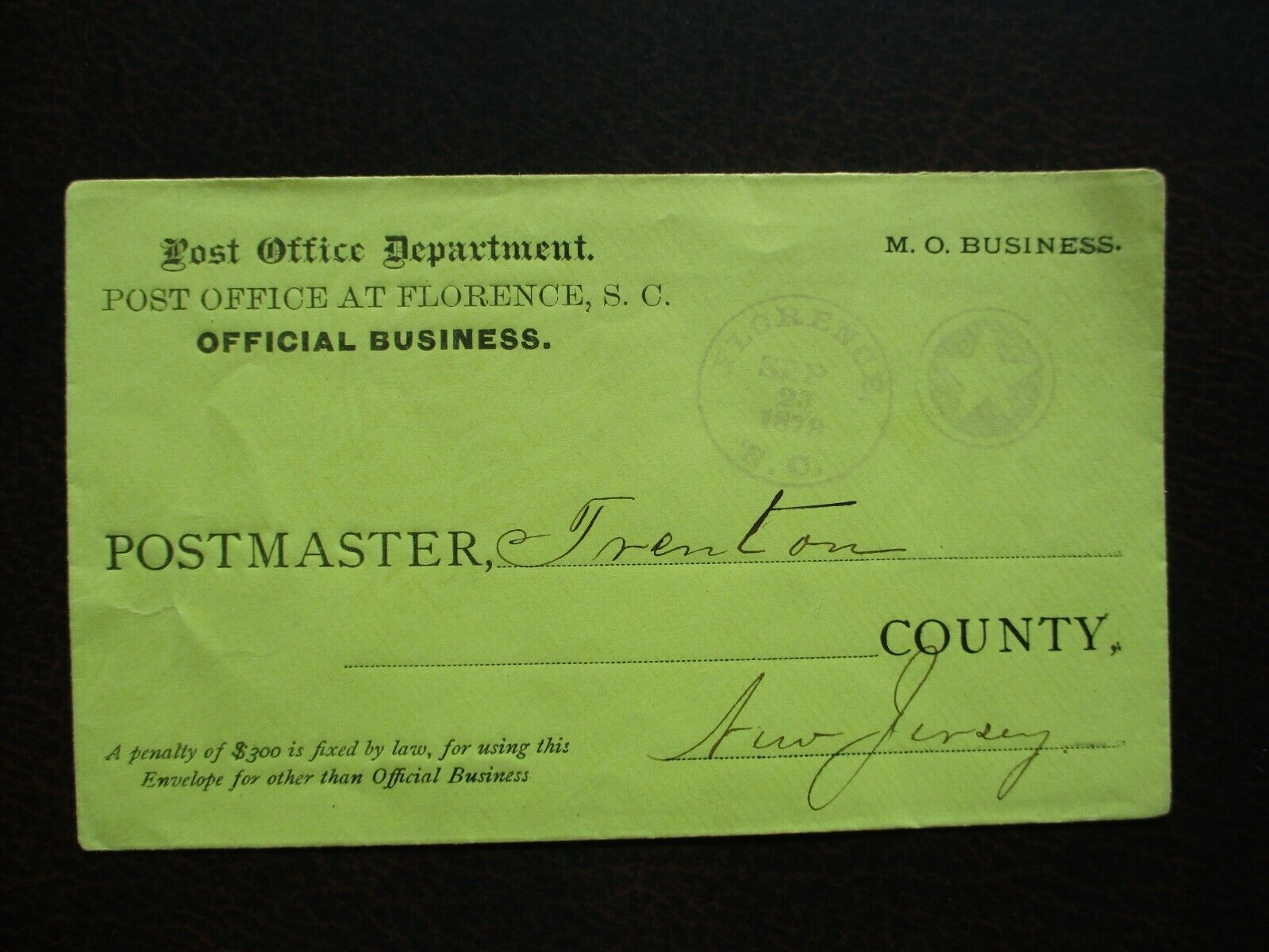 1879 STAR Postmark YELLOW Florence,South Carolina,Post Office Dept, P.M. Cover  - $19.99