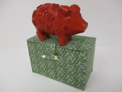 Chinese Hand-Carved Cinnabar Lucky Pig Figurine In Cloth Box