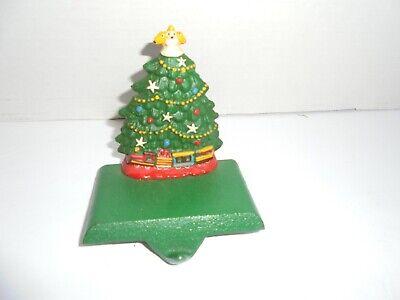 Vintage CAST iron Christmas Tree Stocking Hanger ~train set, garland, lights,