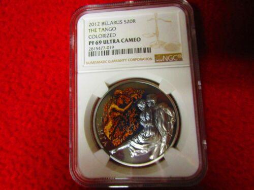 2012 20Rubles The TANGO Magic OfThe Dance Belarus 2012 1oz .925 Silver Coin PF69