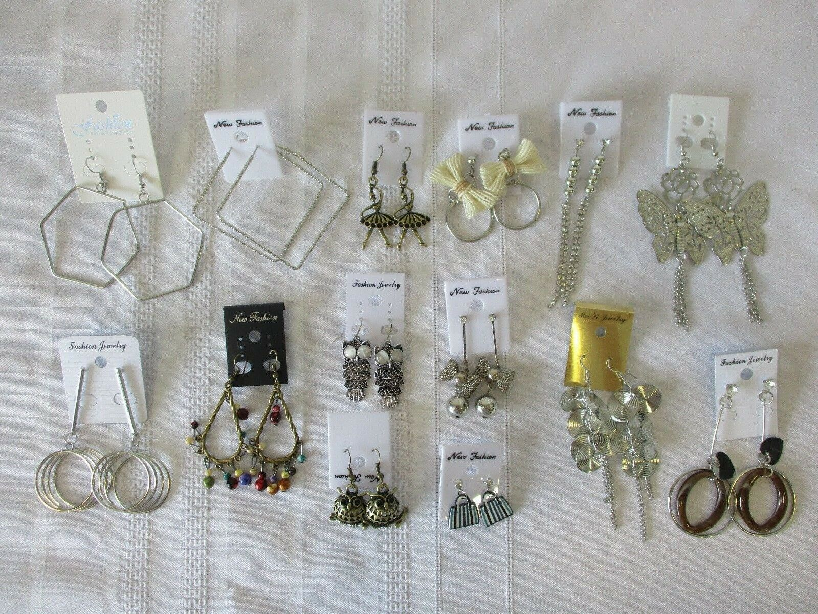 Lot of 14 NEW  Fashion Dangle & Post Earrings Silvertone & Goldtone