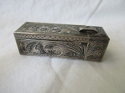 VINTAGE .800 STERLING SILVER BEAUTIFULLY ENGRAVED LIPSTICK CASE W/MIRROR