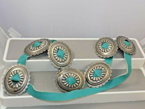 """Vintage Concho Turquoise Leather Belt Silver Tone 42"""" Southwestern Boho"""