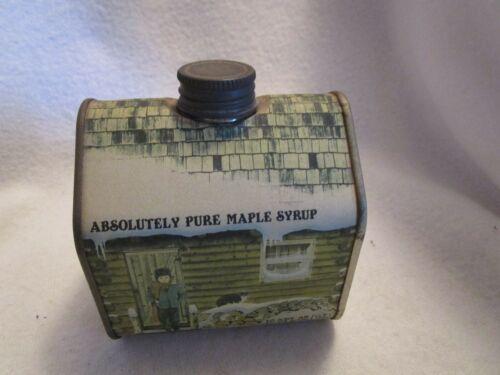 Vintage 1984 Vermont Pure Maple Syrup 16.9 FL.OZ Log Cabin Tin