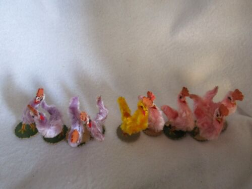 Nine Vintage Chenille Chickens Lavender Pink Yellow